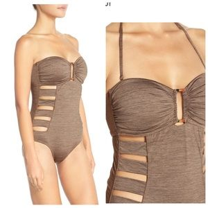 La Blanca Sand Dunes Cutout Swimsuit Brown Sz 6